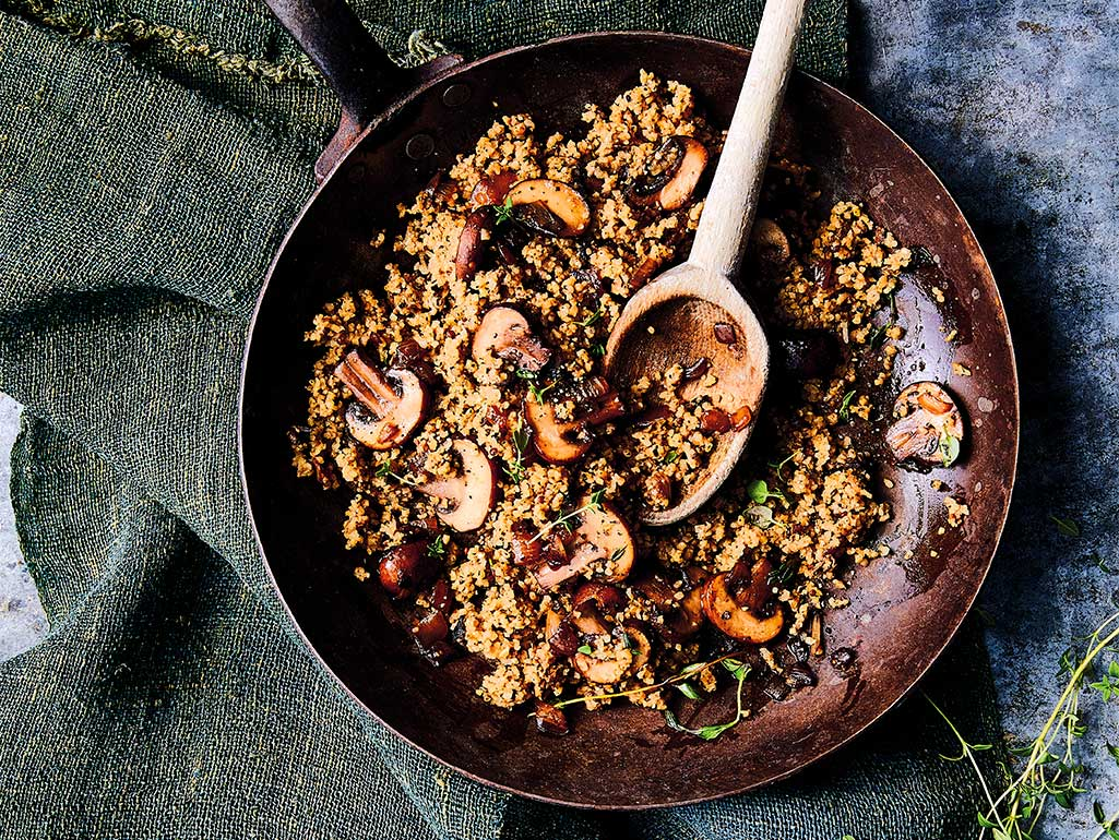 Mushroom Savory Grains with Thyme, Onions, and Crispy Shrooms