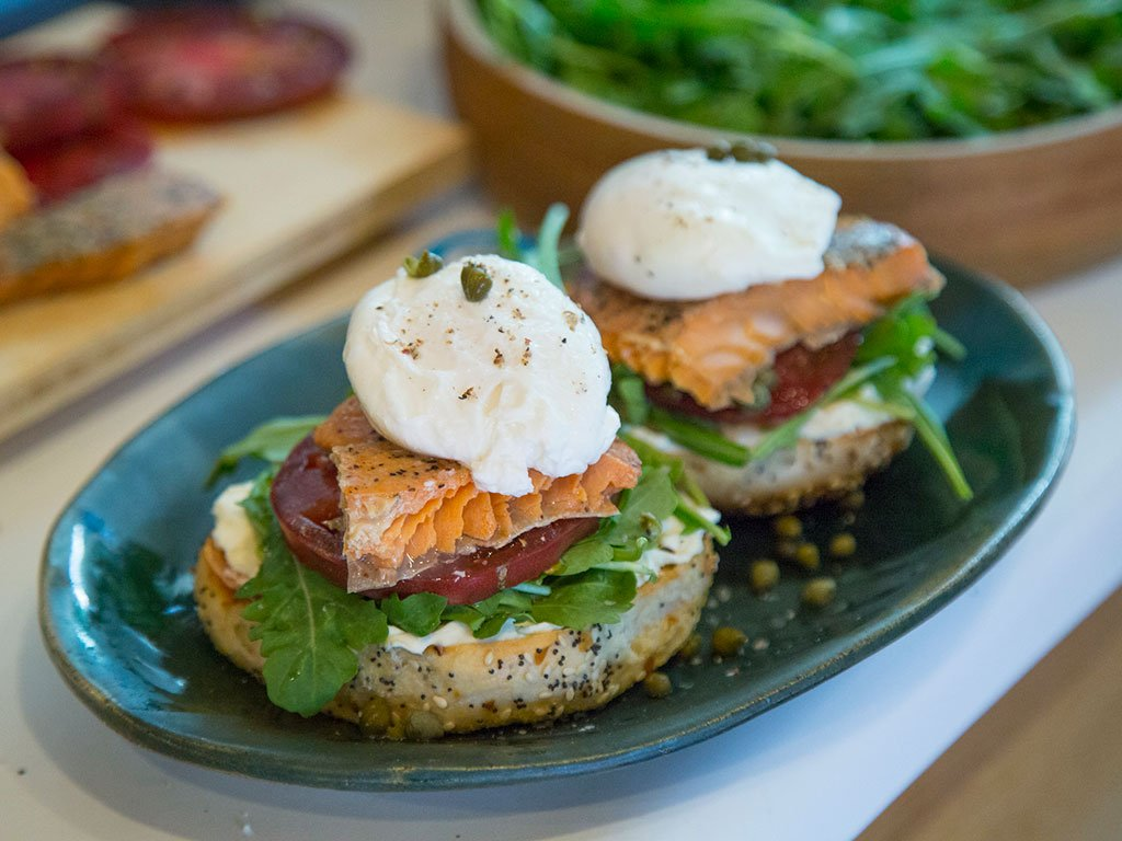 Salmon Bagel with Poached Egg