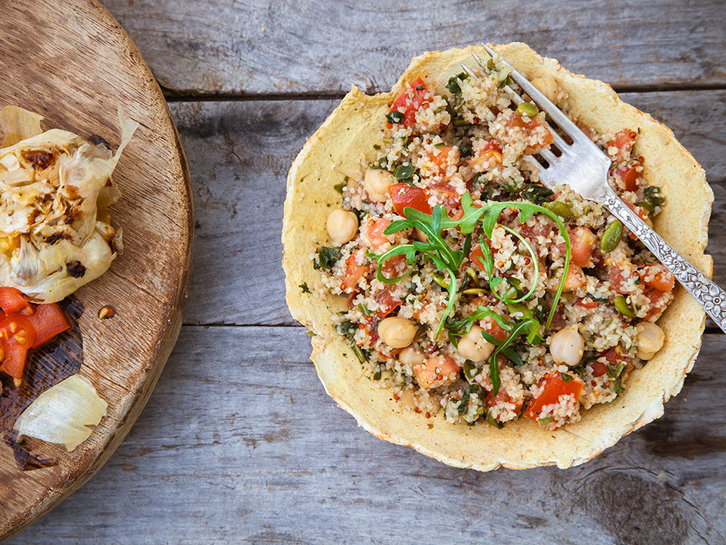 bowl of savory grains tabbouleh salad