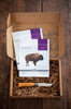 Open Patagonia Provisions Prairie Gift Box with buffalo jerky and Opinel® No.8 knife