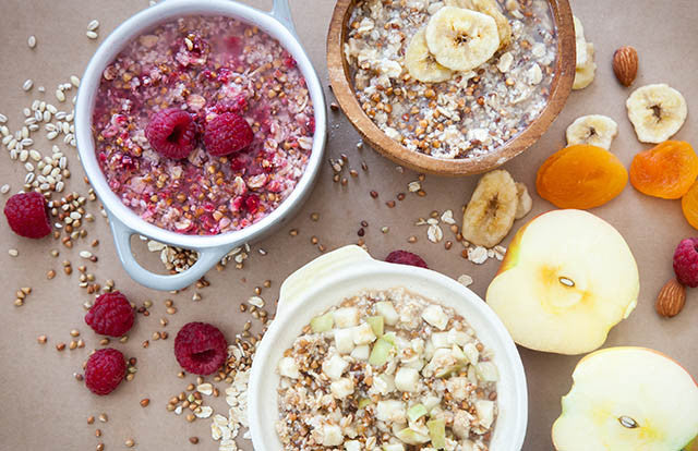 Three bowls of Patagonia Provisions Breakfast Grains Apple, Raspberry and Banana