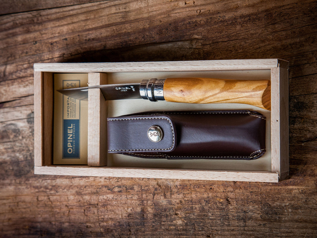 Opinel® Olive Wood Folding Knife No 8 with Carrying Case Sheath