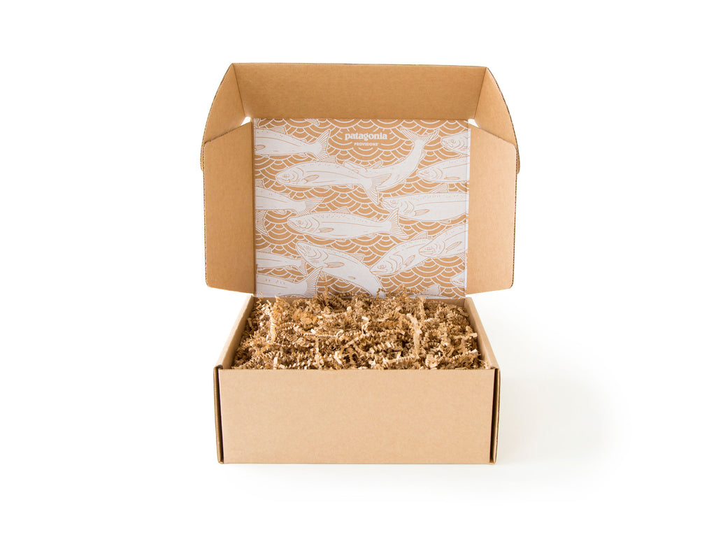 Patagonia Provisions Gift Box open with Salmon illustration inside