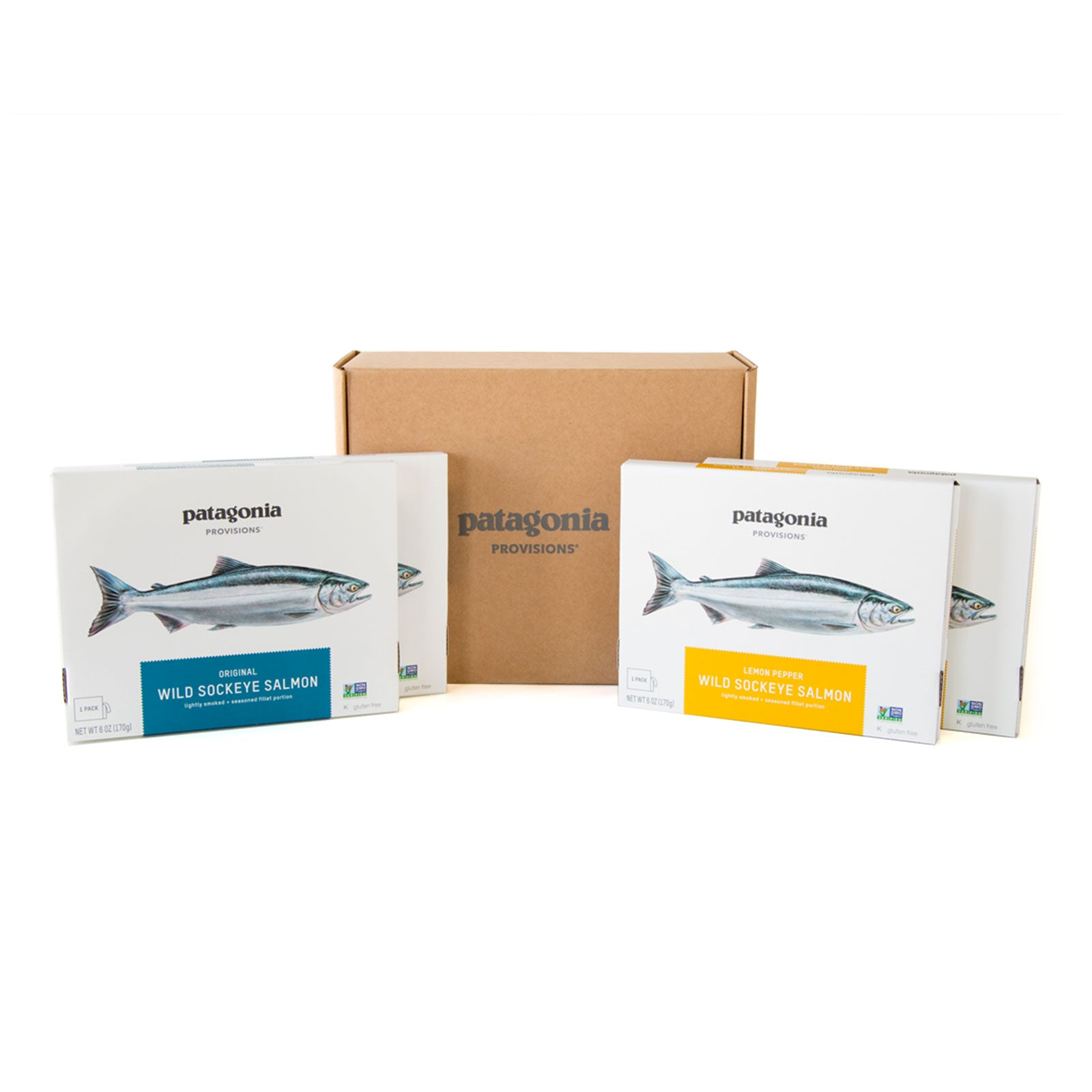 Two boxes each of Patagonia Provisions Wild Sockeye Salmon Original and Lemon Pepper Flavor
