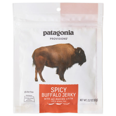 Single package of Patagonia Provisions Spicy Buffalo Jerky on a white background