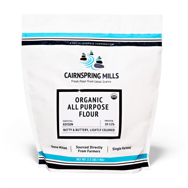 Front of bag of Cairnspring Mills Organic Edison All-Purpose Flour