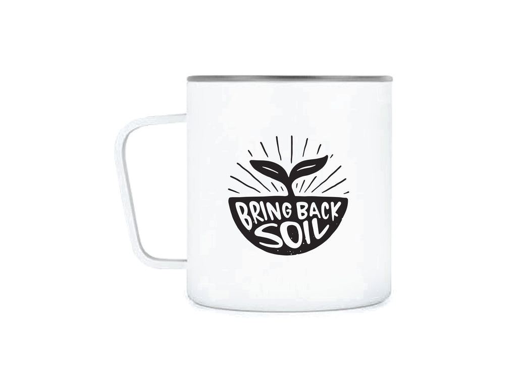 White MiiR® stainless steel camp cup with Bring Back Soil illustration