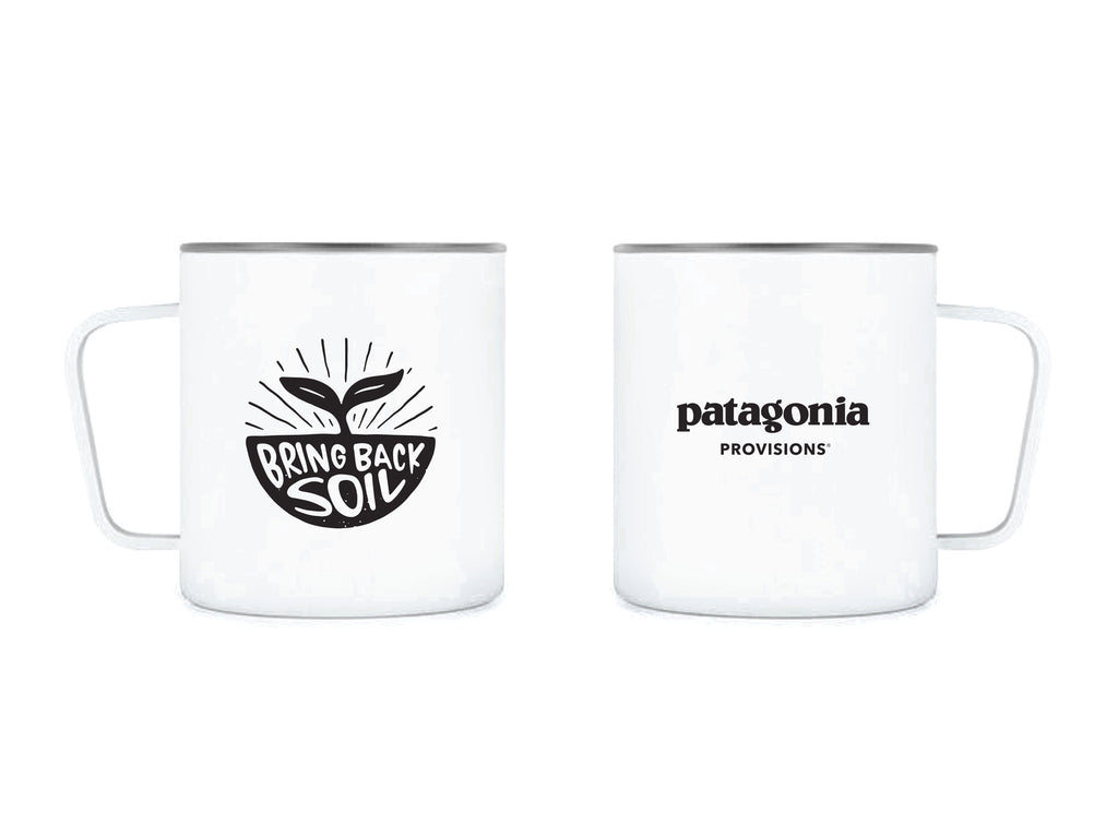 Front and back of MiiR® White stainless steel Camp Cup with Bring Back Soil illustration