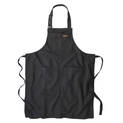 Front of black Patagonia All Seasons Hemp Apron displayed flat on white surface