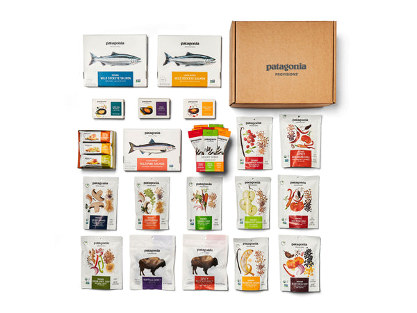 Products and backpacking food from Patagonia Provisions' Sampler Gift Box including snacks & meals