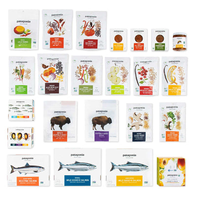 Contents of the Patagonia Provisions Sampler Box displayed on a white background