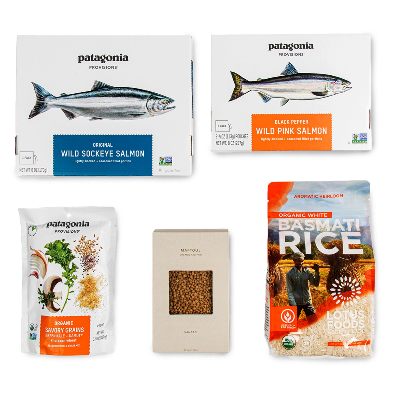 Content of Patagonia Provisions Seafood and Grains Good Together Sampler on a white background