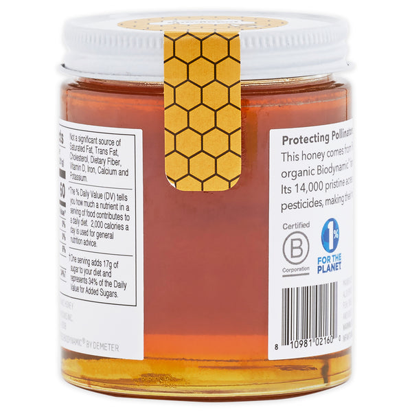 Back of Patagonia Provisions Organic Moloka'i Honey jar, showing nutritional label