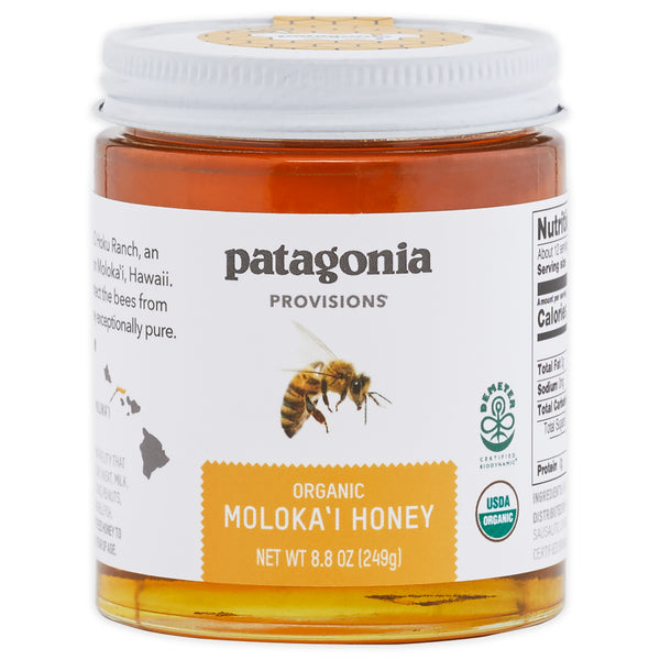 Jar of Patagonia Provisions Organic Moloka'i Honey on white background