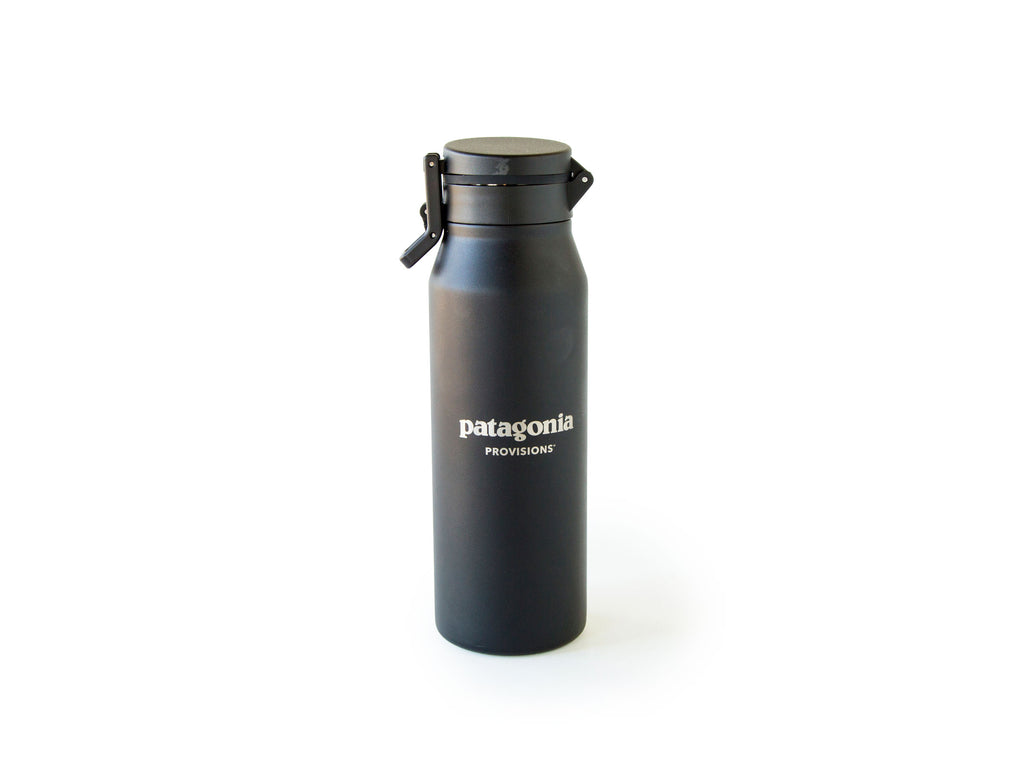 Back of Black MiiR® Canister with Patagonia Provisions logo