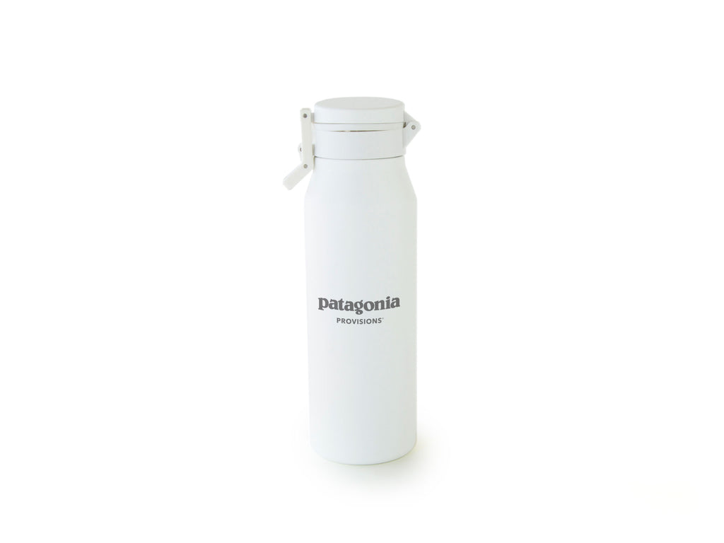Back of White MiiR® Canister with Patagonia Provisions logo