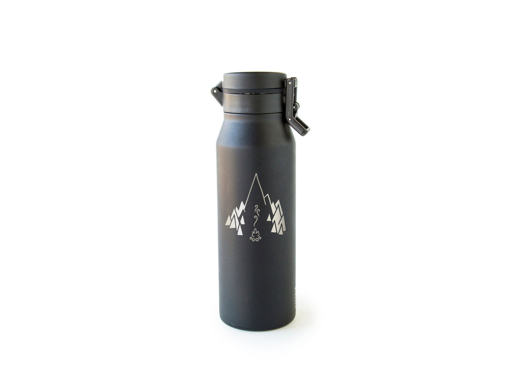 Front of Black MiiR® Canister with campfire logo
