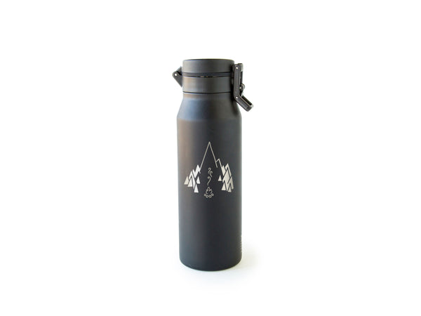 Front of Black MiiR® Campfire Howler with campfire logo