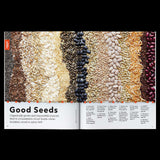 Patagonia Provisions Journal pages with story about seeds and photo of a range of seeds