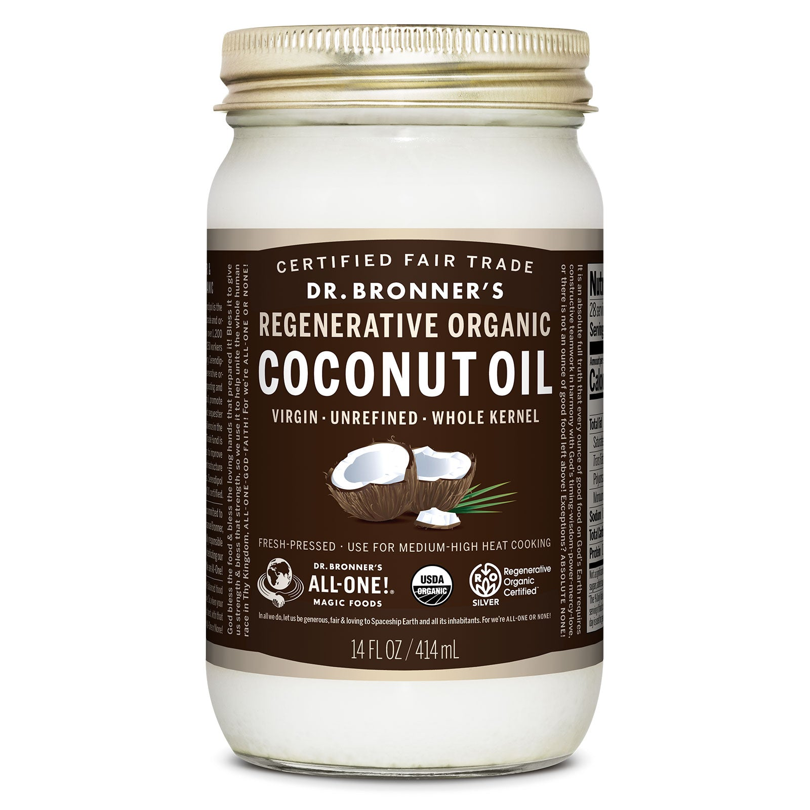 Front of 14oz Jar of Dr Bronner's Coconut Oil on white background