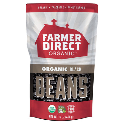 Farmer Direct Organic Black Beans Package Front