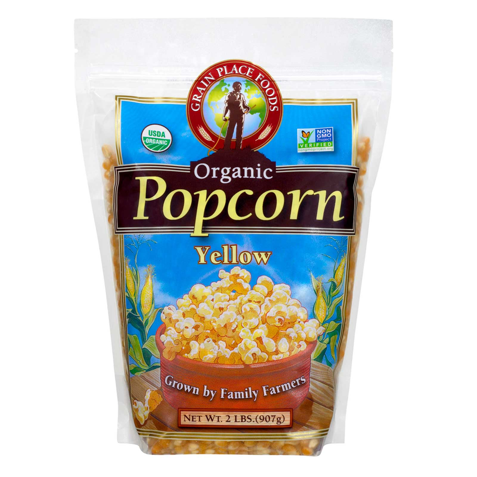 Front of bag of Grain Place Organic Popcorn on a white background
