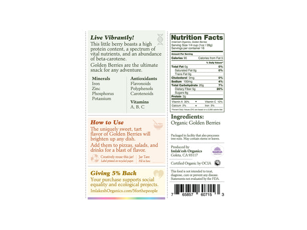 Imlak'esh Organics Golden Berries back panel with nutrition label