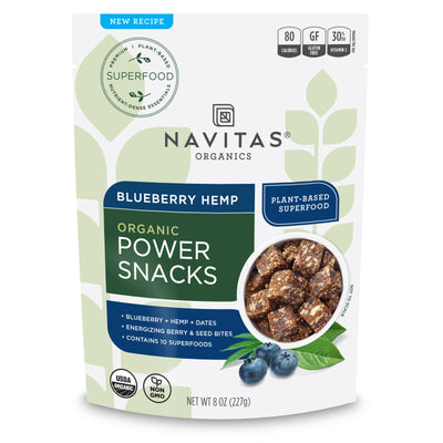 Navitas Organics Blueberry Hemp Power Snacks package front