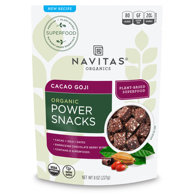 Navitas Organics Cacao Goji Power Snacks package front