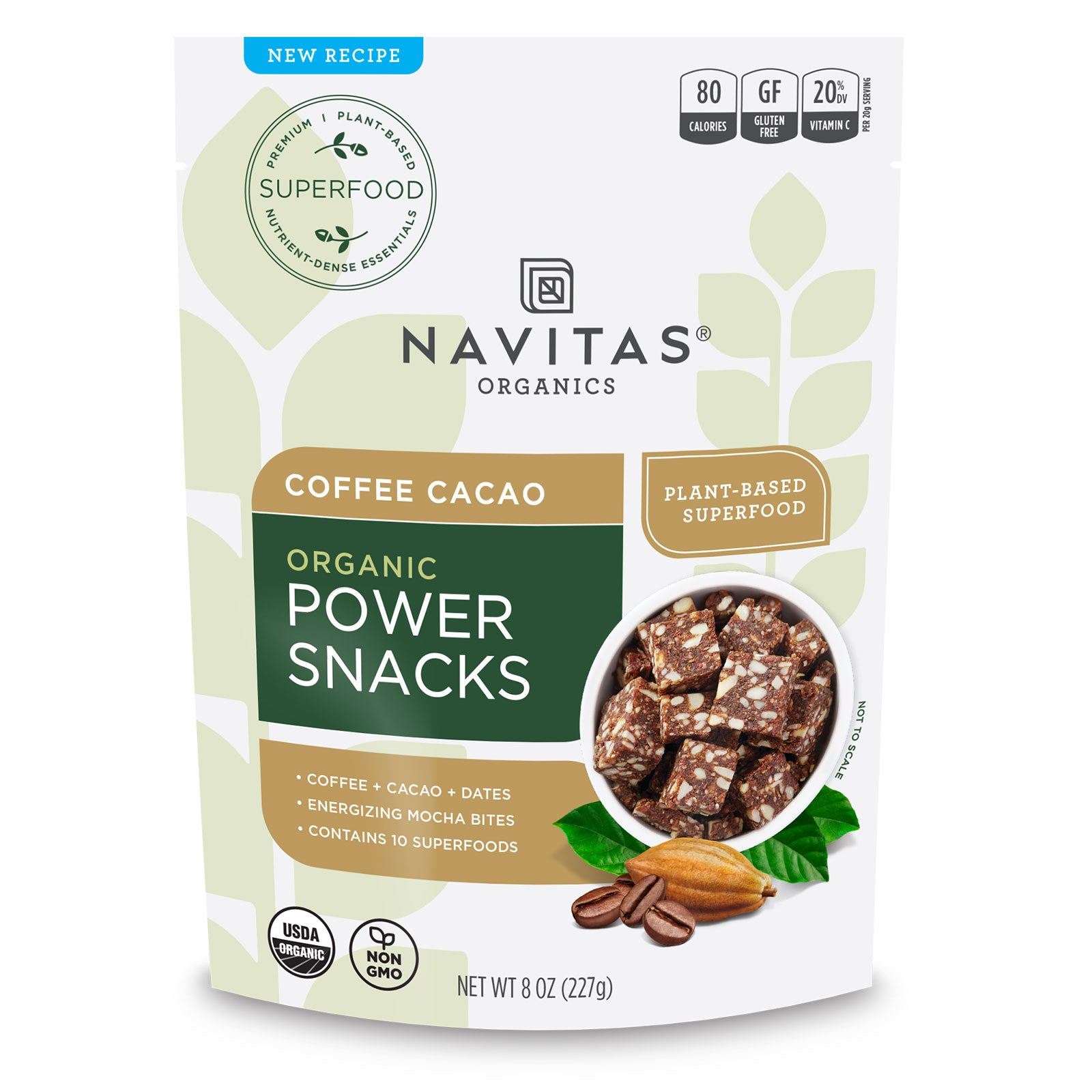 Navitas Organics Coffee Cacao Power Snacks package front