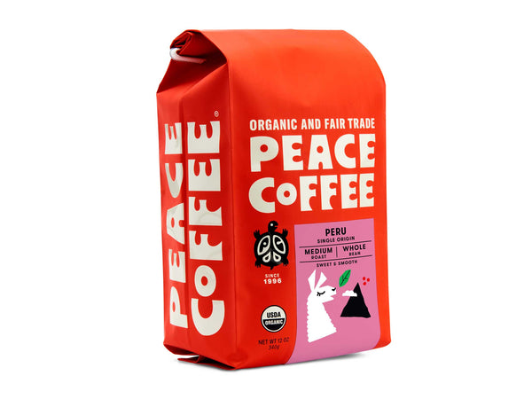 Angled Bag of Peace Coffee Organic Peru Single Origin