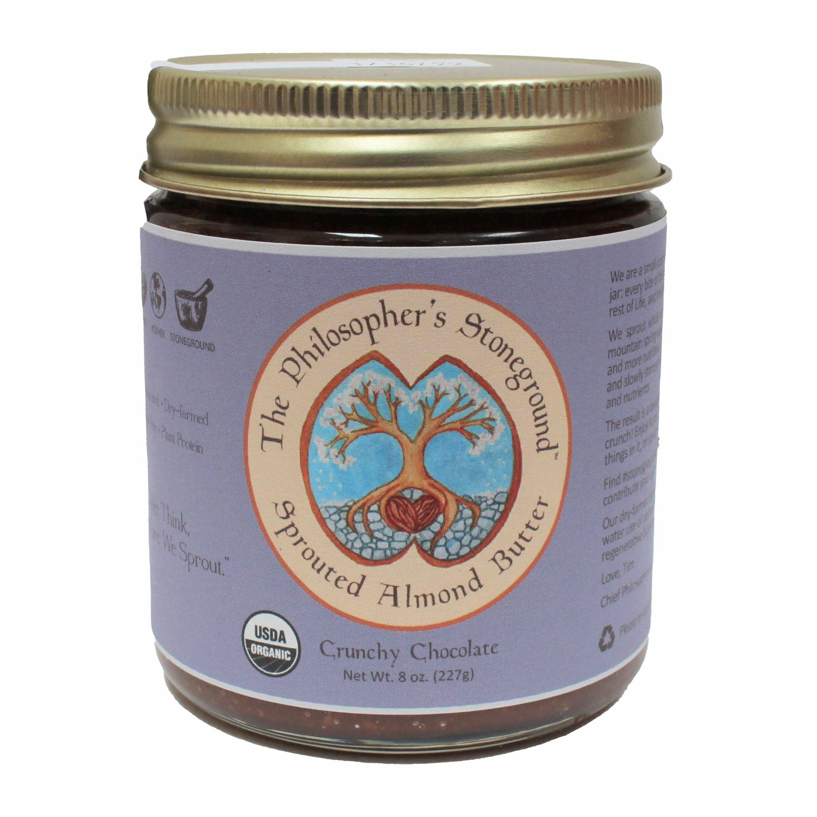 The Philosopher's Stoneground Crunchy Chocolate Almond Butter jar front