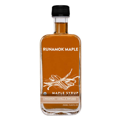 Glass bottle front of Runamok Maple Cinnamon Vanilla Maple Syrup