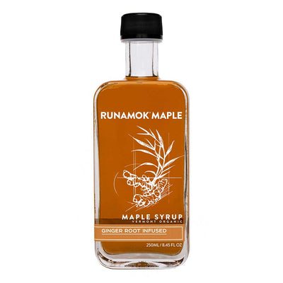 Glass bottle front of Runamok Maple Ginger Infused Maple Syrup