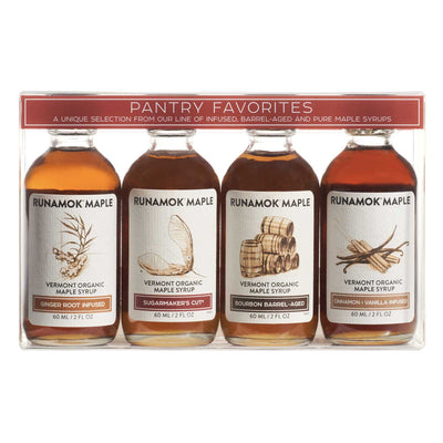Front of gift set of four 60ml bottles of Runamok Maple Syrup flavors