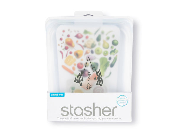 Stasher Reusable Silicone Half Gallon bag in packaging, clear color with campfire logo