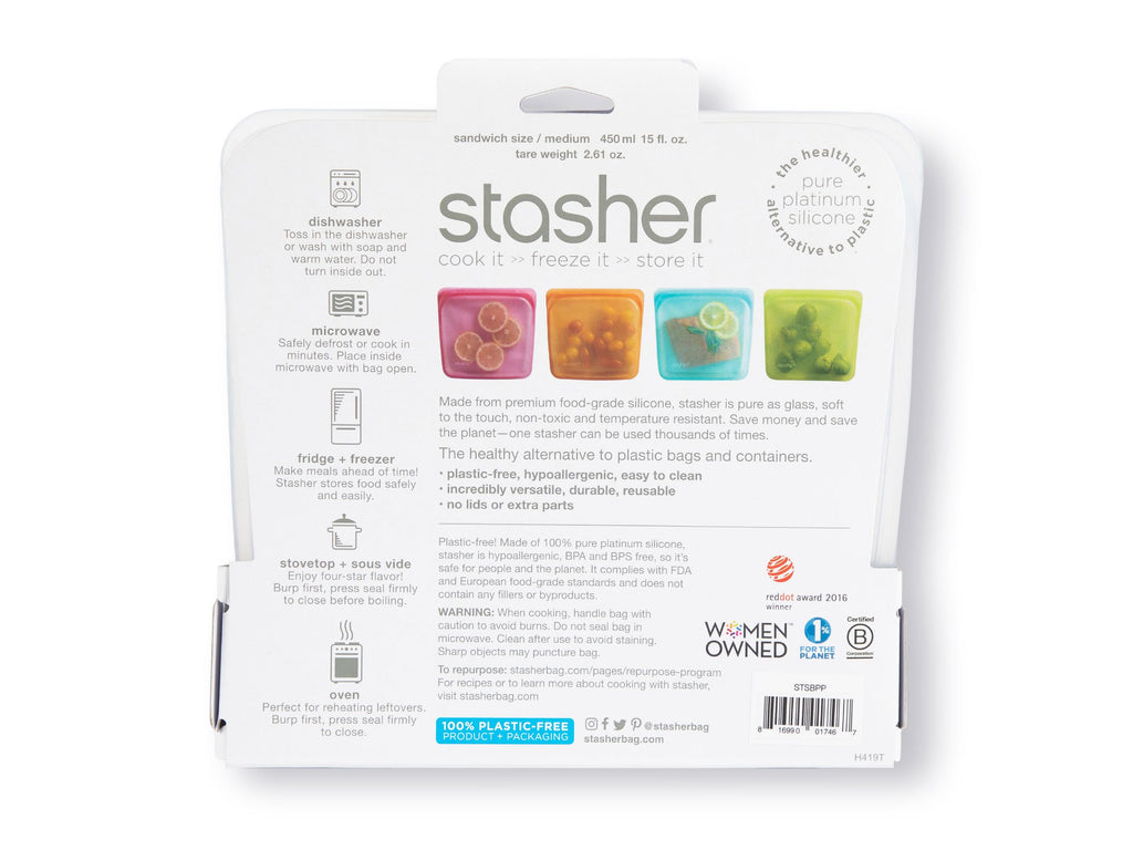 Stasher Reusable Silicone Sandwich bag package back