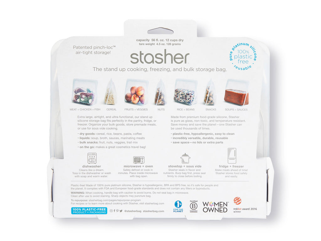 Stasher Reusable Silicone Stand Up bag package back