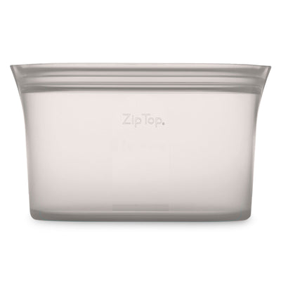 Front of Zip Top Large Silicone Dish in light gray
