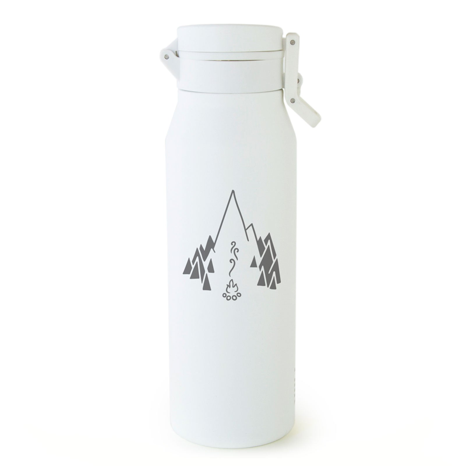 White MiiR® Campfire Howler insulated growler with gray campfire logo