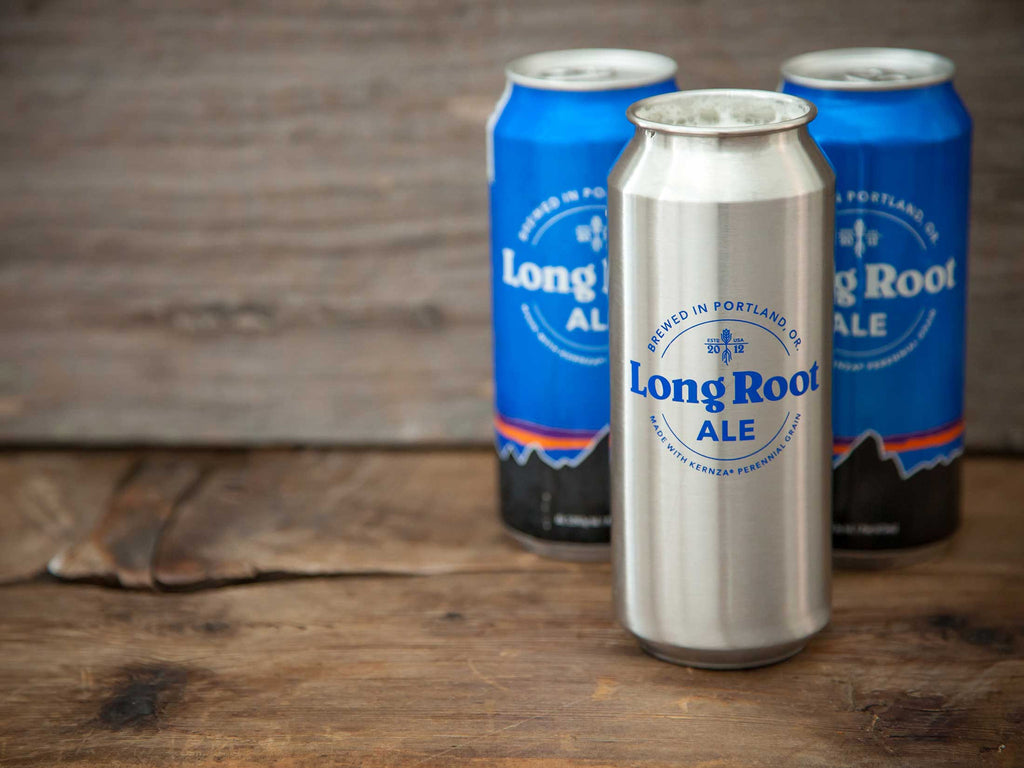 MiiR® 16oz Stainless Long Root Ale Tallboy in front of two Long Root Ale Classic Tallboys on wood background.