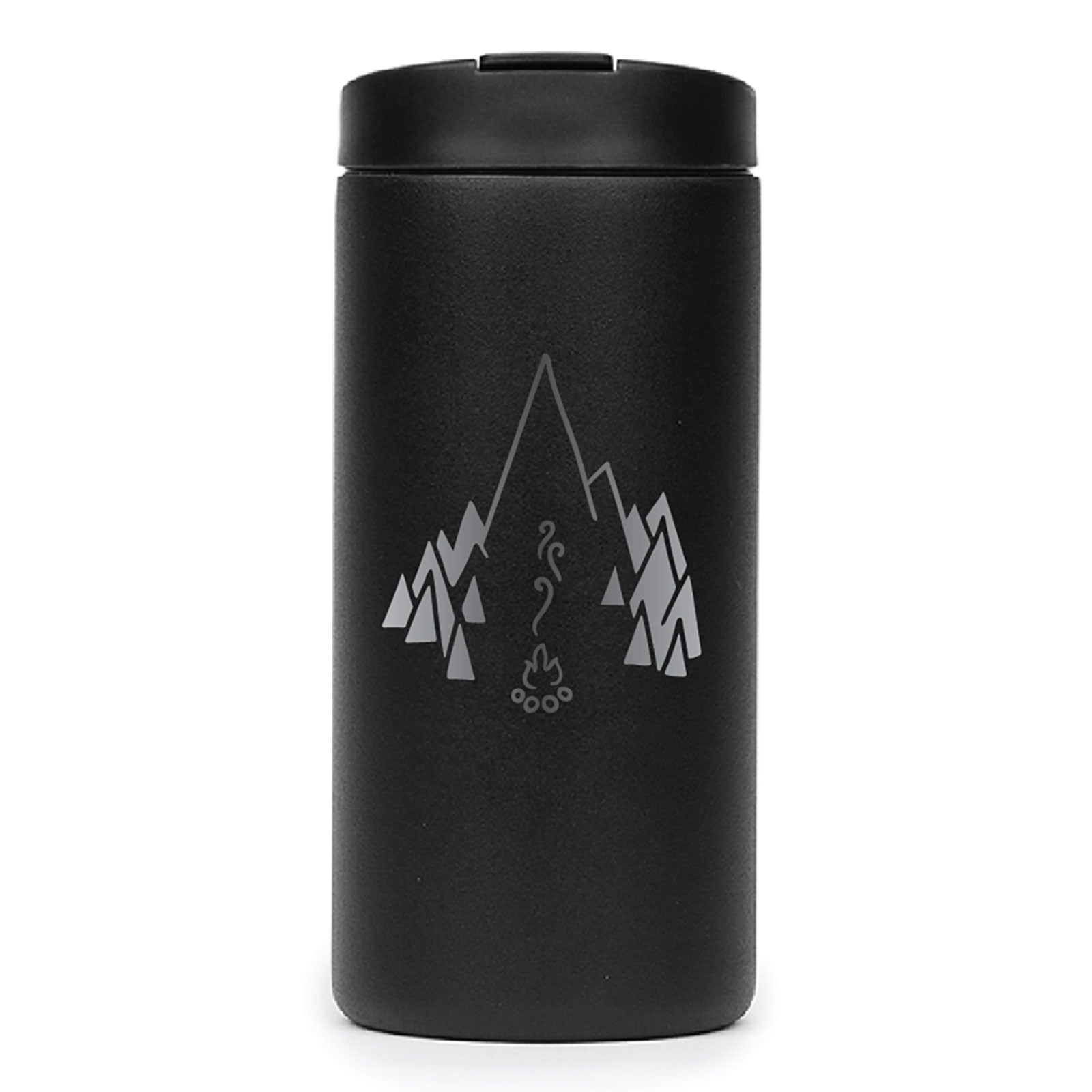 BPA-free, leak-proof black MiiR Travel Tumbler with campfire illustration and vacuum insulated stainless-steel