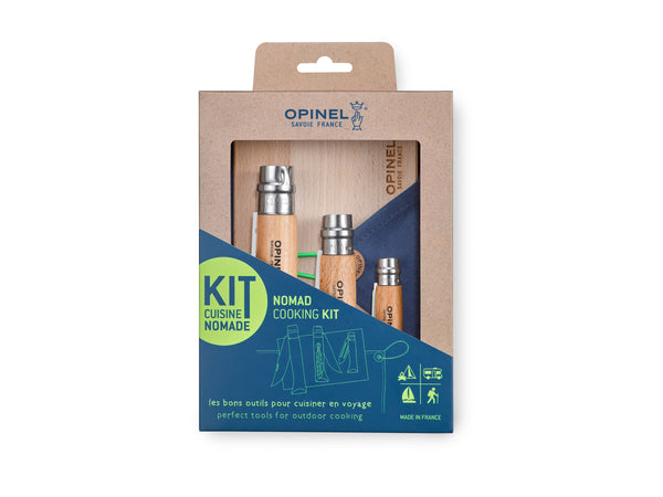 Opinel Nomad Outdoor Cooking Kit with 3 classic Opinel Knives—No12 Serrated Folding Knife, No10 Folding Corkscrew Knife, No6 Pocket Peeler— as well as a Beechwood Cutting Board and a handy Microfiber Cleaning Cloth.