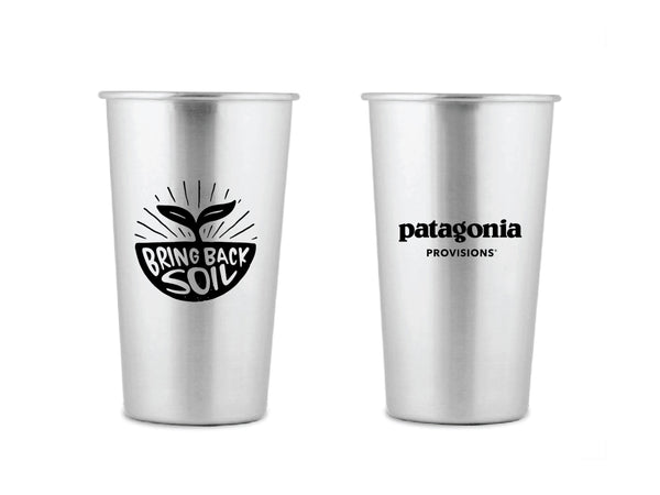 Front and back of two Stainless MiiR® Pint Cups with Bring Back The Soil illustration