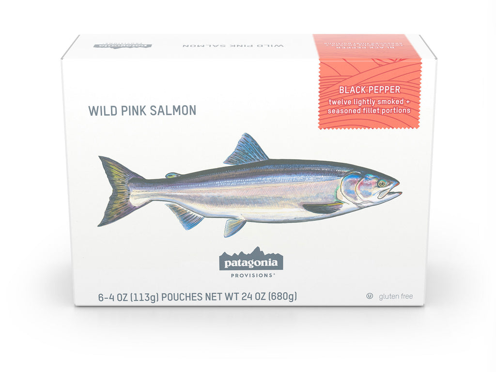 Wild Lummi Island Pink Salmon, Black Pepper (6-4oz Pouches) box on white background, front