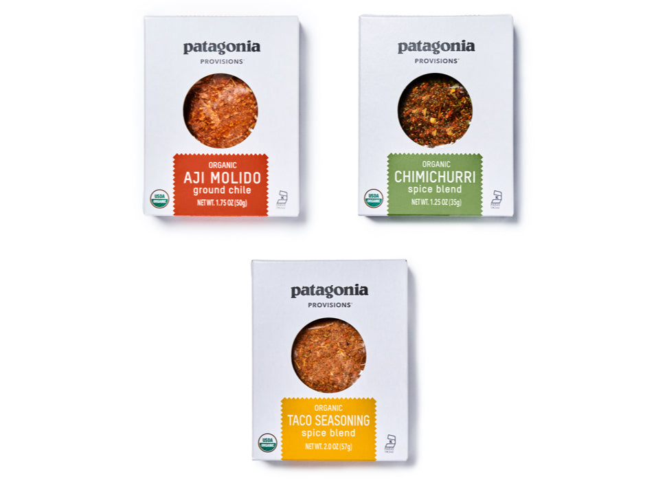 Three packets of Patagonia Provisions Spices - Aji Molido, Chimichurri, and Taco Seasoning - on a white background