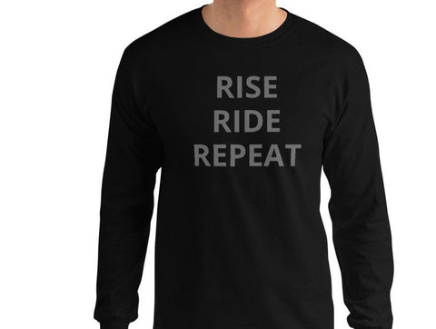 LONG SLEEVE RISE RIDE REPEAT - GRAY LETTERS GEARS ON BACK