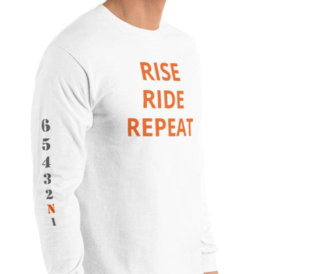 LONG SLEEVE RISE RIDE REPEAT - ORANGE LETTERS GEARS ON SLEEVE
