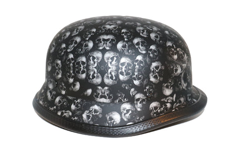 H80 Novelty German Grey Skull Flat Black - Non DOT