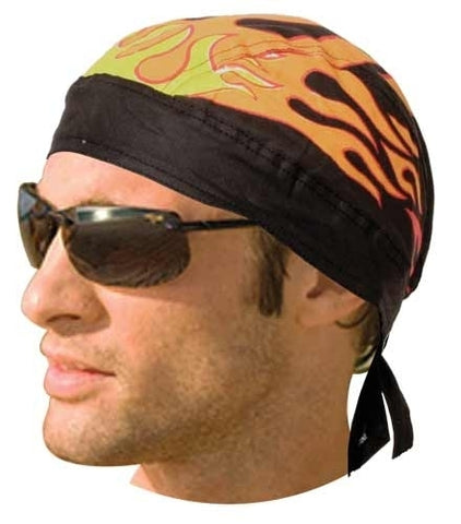 HW2682 Headwrap Black with Flames